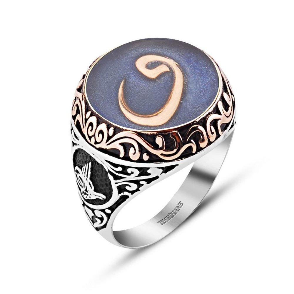 Mavi Mine Üzerine Vav Harfli 925 Ayar Gümüş Yüzük