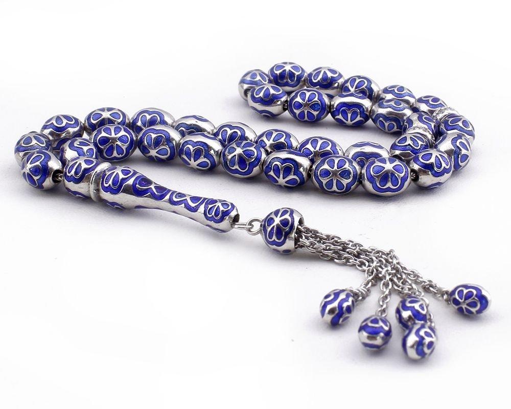 Mavi Mineli 925 Ayar Gümüş Tesbih