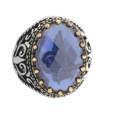 Mavi Zirkon Taş İçine Özel Tuğra İşlemeli 925 Ayar Gümüş Erkek Yüzük - Thumbnail