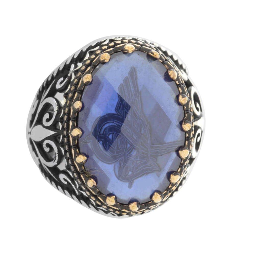 Mavi Zirkon Taş İçine Özel Tuğra İşlemeli 925 Ayar Gümüş Erkek Yüzük