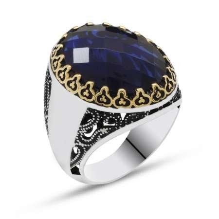 Mavi Zirkon Taşlı 925 Ayar Gümüş Erkek Yüzük(Yanlara isim yazılabilir) - Thumbnail