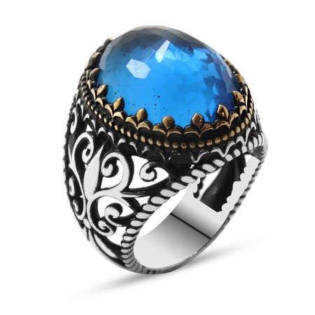 Mavi Zirkon Taşlı Ferforje Tasarım 925 Ayar Gümüş Erkek Yüzük - Thumbnail