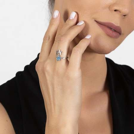 Mavi Zirkon Taşlı Kardelen Çiçeği Tasarım 925 Ayar Gümüş Kadın Yüzük - Thumbnail