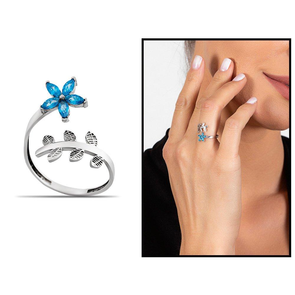 Mavi Zirkon Taşlı Kardelen Çiçeği Tasarım 925 Ayar Gümüş Kadın Yüzük