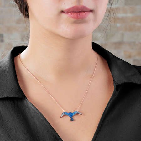 Mavi Zirkon Taşlı Martı Tasarım 925 Ayar Gümüş Bayan Kolye - Thumbnail