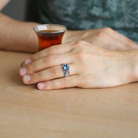 Mavi Zirkon Taşlı Minimal Tasarım 925 Ayar Gümüş Erkek Yüzük - Thumbnail