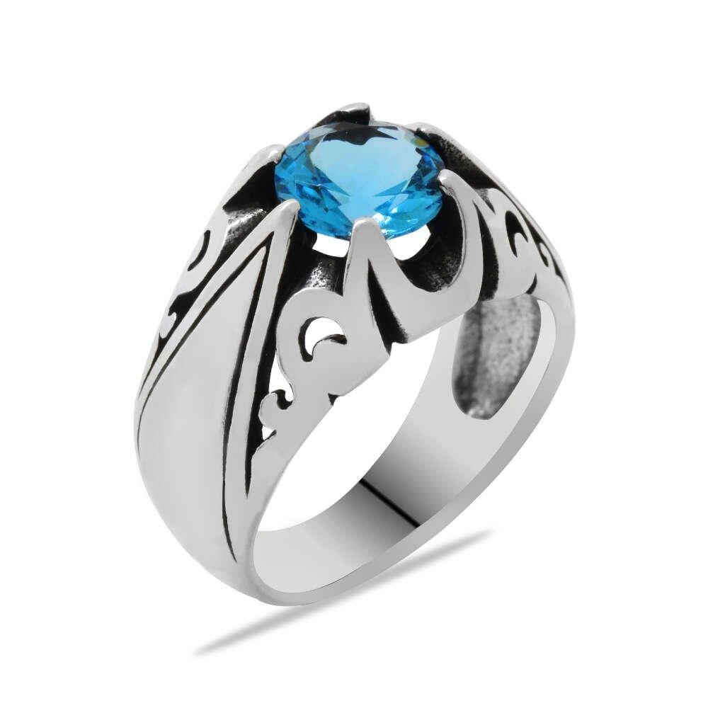 Mavi Zirkon Taşlı Minimal Tasarım 925 Ayar Gümüş Erkek Yüzük