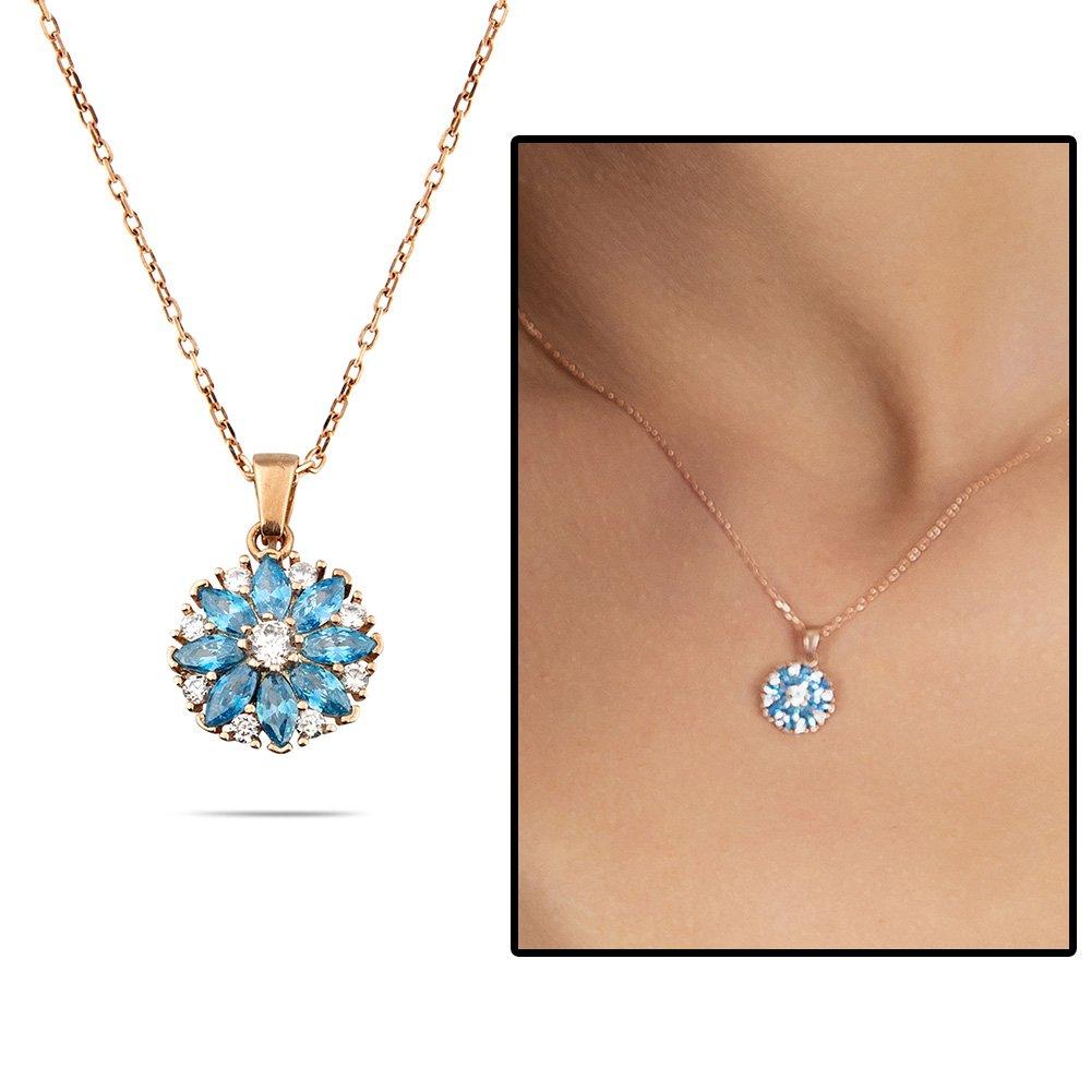 Mavi Zirkon Taşlı Nergis Çiçeği Tasarım Rose Renk 925 Ayar Gümüş Kadın Kolye