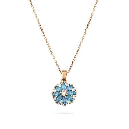 Mavi Zirkon Taşlı Nergis Çiçeği Tasarım Rose Renk 925 Ayar Gümüş Kadın Kolye - Thumbnail