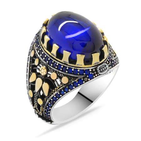 Mavi Zirkon Taşlı Oval Tasarım 925 Ayar Gümüş Erkek Yüzük - Thumbnail