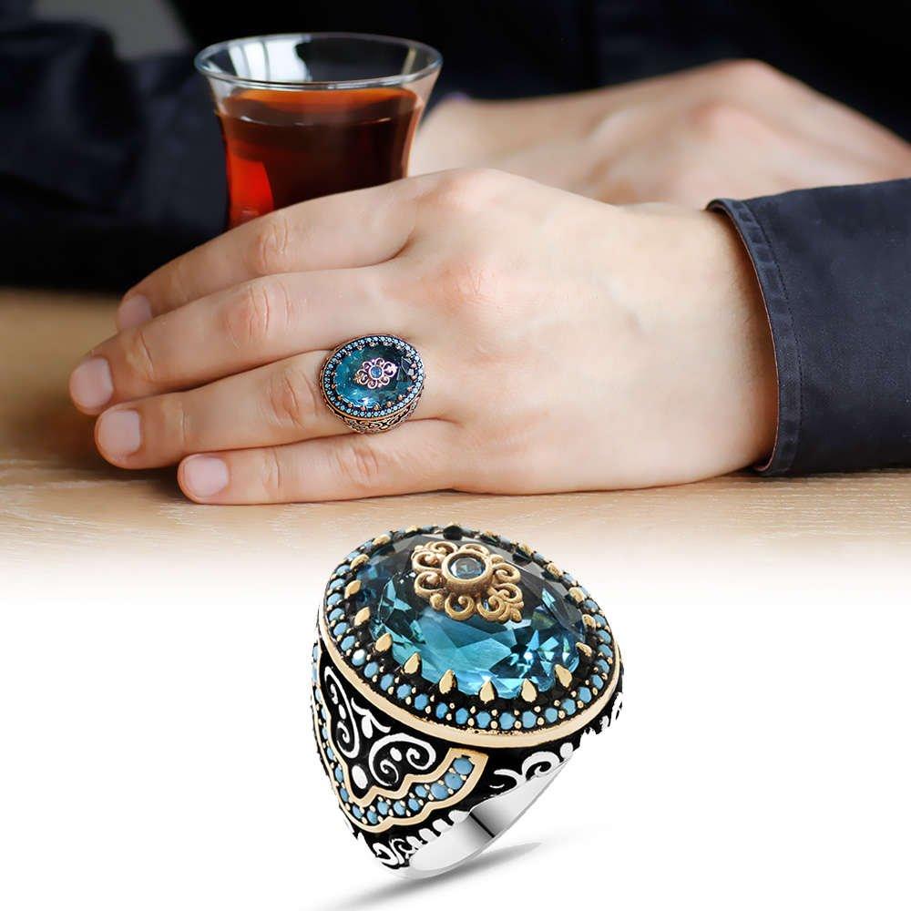 Mavi Zirkon Taşlı Yoğun Mikro Taş İşlemeli 925 Ayar Gümüş Erkek Yüzük