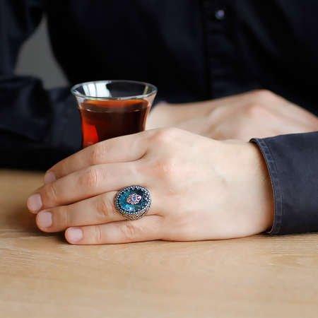 Mavi Zirkon Taşlı Yoğun Mikro Taş İşlemeli 925 Ayar Gümüş Erkek Yüzük - Thumbnail