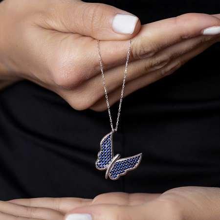 Mavi Zirkon Taşlı Zarif Tasarım 925 Ayar Gümüş Kelebek Kolye - Thumbnail