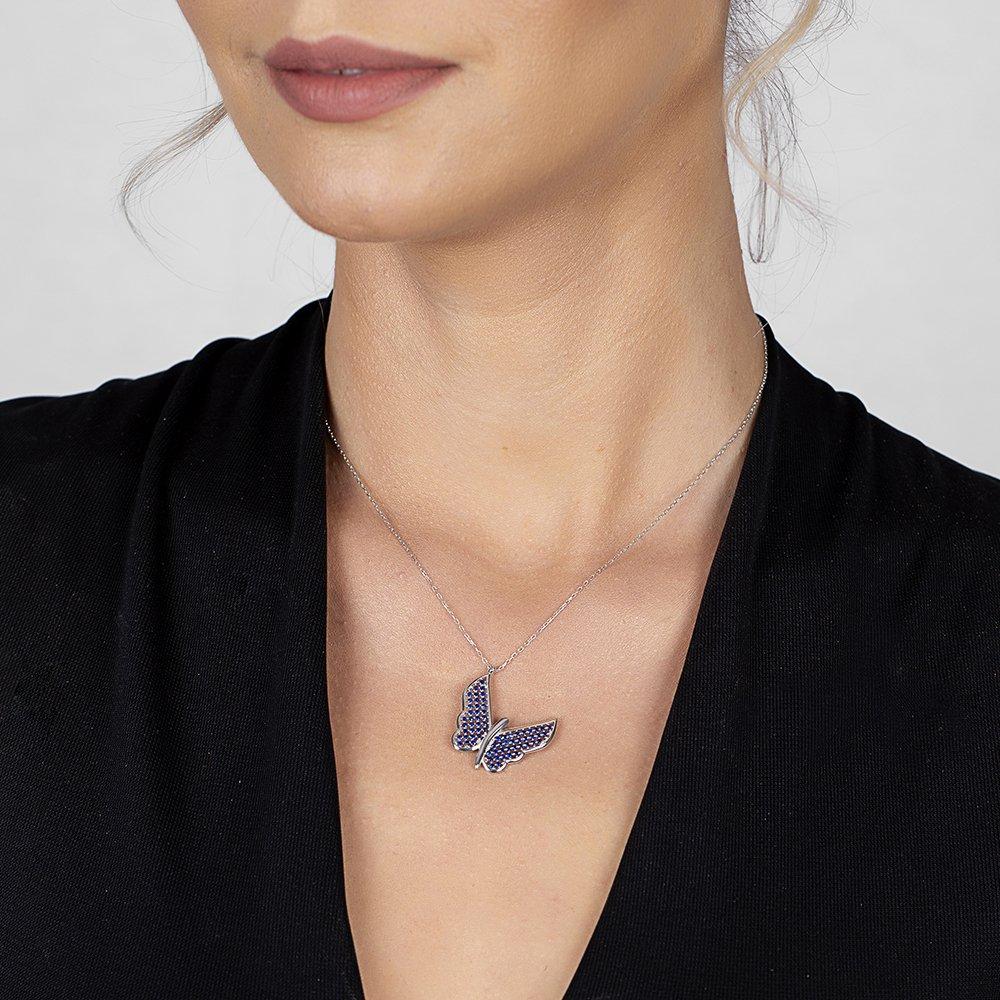 Mavi Zirkon Taşlı Zarif Tasarım 925 Ayar Gümüş Kelebek Kolye