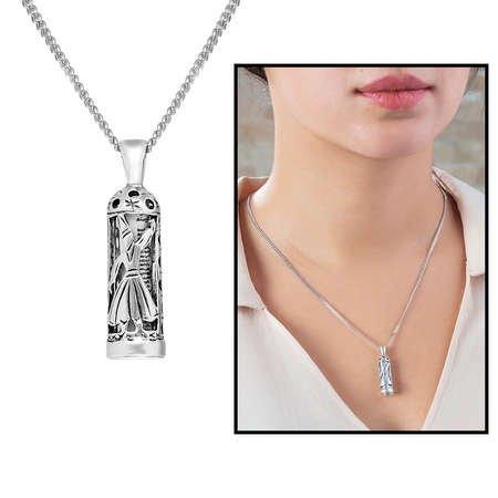 Mevlevi Tasarım 925 Ayar Gümüş Cevşen Kolye - Thumbnail