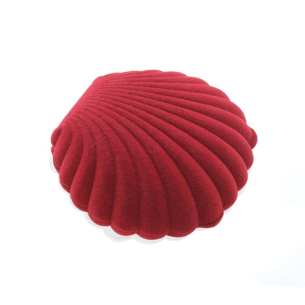 Midye Tasarım Kırmızı Renk Kadife Kolye Kutusu