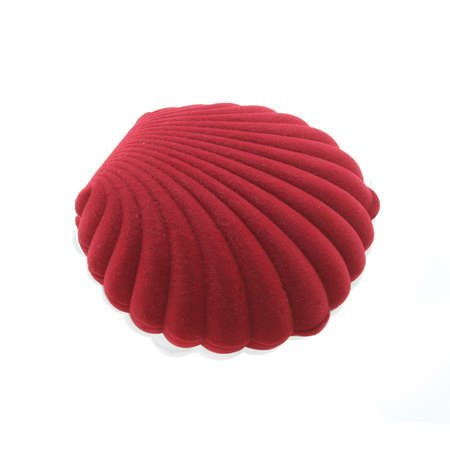 Midye Tasarım Kırmızı Renk Kadife Kolye Kutusu - Thumbnail