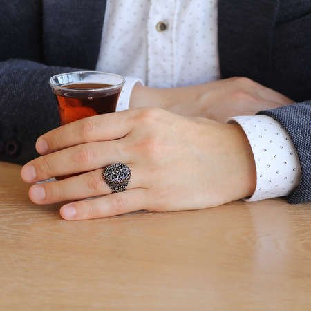 Miğfer Tasarım 925 Ayar Gümüş Yeniçeri Yüzüğü - Thumbnail