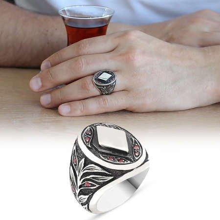 Mikro İşlemeli Baklava Desen 925 Ayar Gümüş Erkek Yüzük - Thumbnail