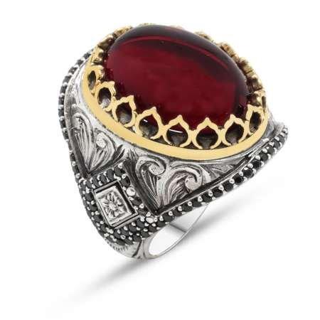 Mikro İşlemeli Kırmızı Ruby Taşlı 925 Ayar Gümüş Erkek Yüzük - Thumbnail