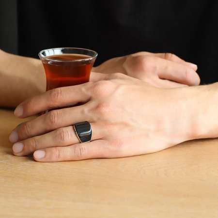 Mikro Taş İşlemeli Siyah Oniks Taşlı 925 Ayar Gümüş Erkek Yüzük - Thumbnail