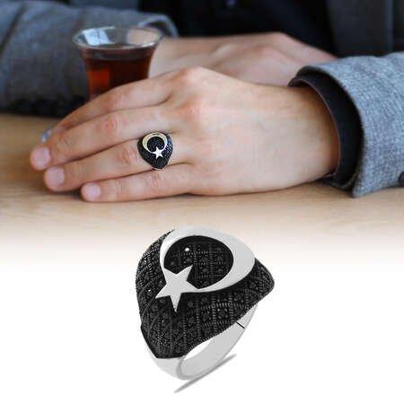 Mikro Taş Süslemeli Ayyıldız Tasarım 925 Ayar Gümüş Erkek Yüzük - Thumbnail