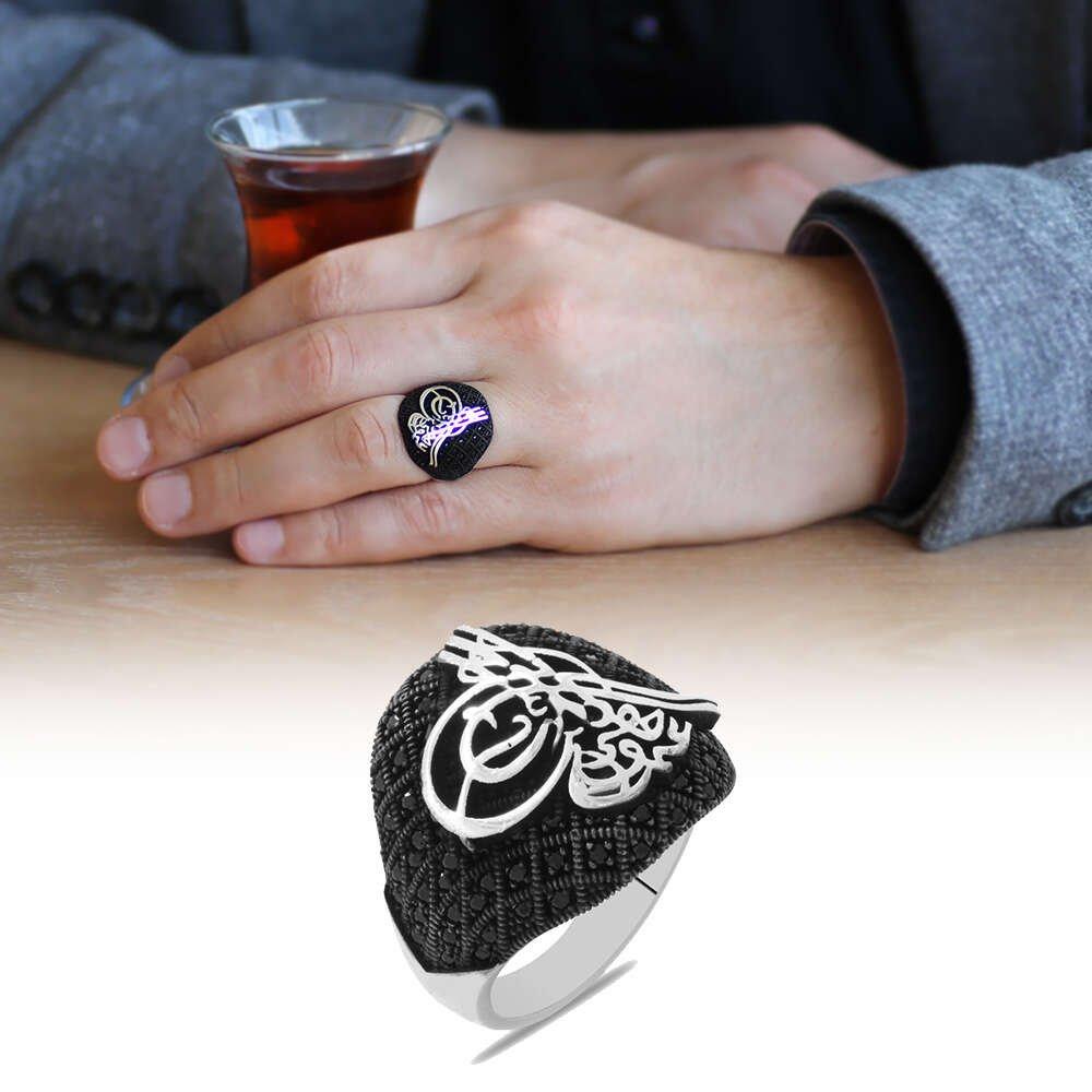 Mikro Taş Süslemeli Tuğra Tasarım 925 Ayar Gümüş Erkek Yüzük