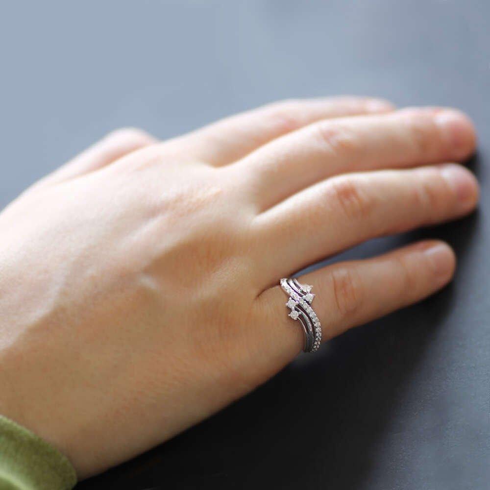 Mikro Zirkon Taşlı Dalga Tasarım 925 Ayar Gümüş Bayan Yüzük