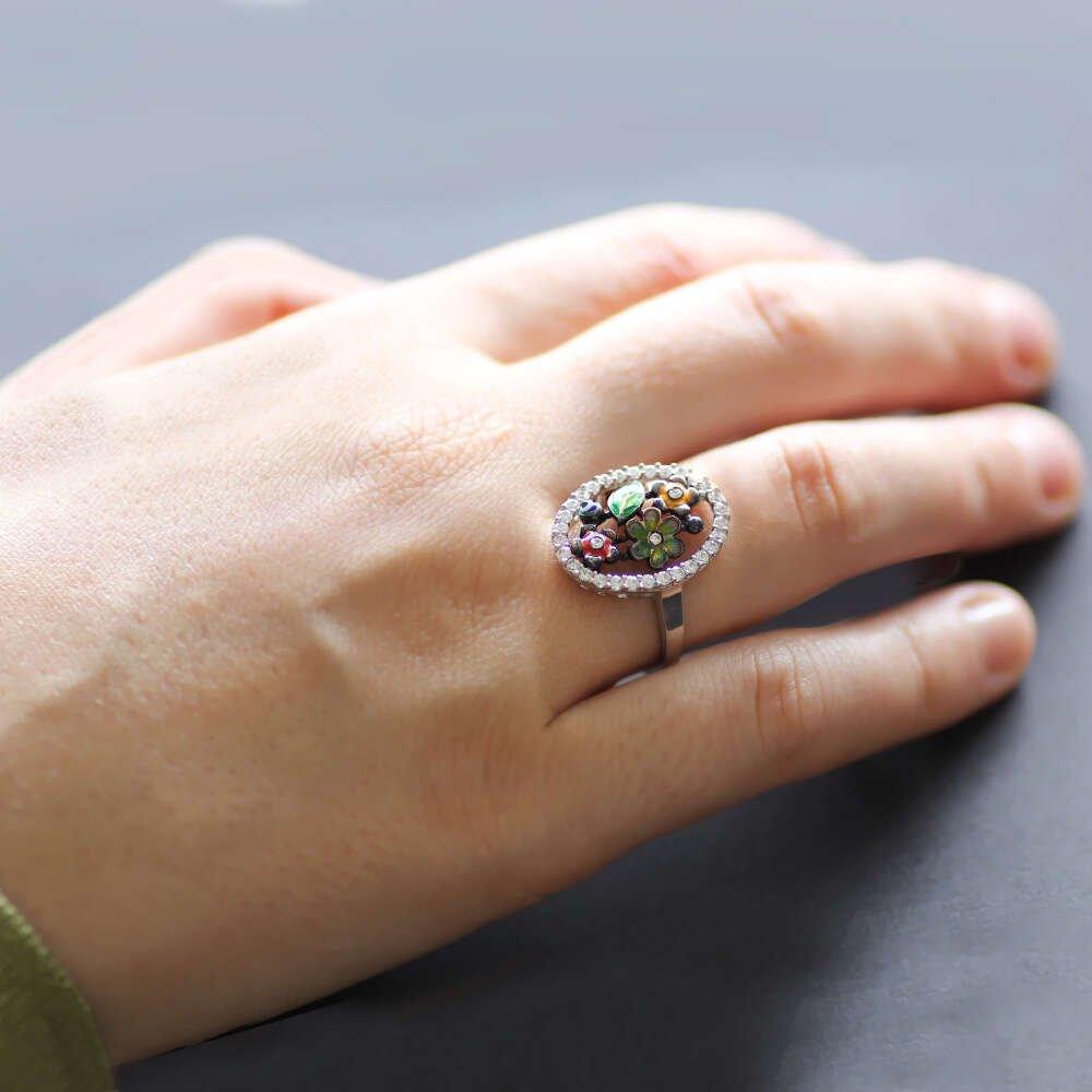 Mikro Zirkon Taşlı Kır Bahçesi Tasarım 925 Ayar Gümüş Bayan Yüzük