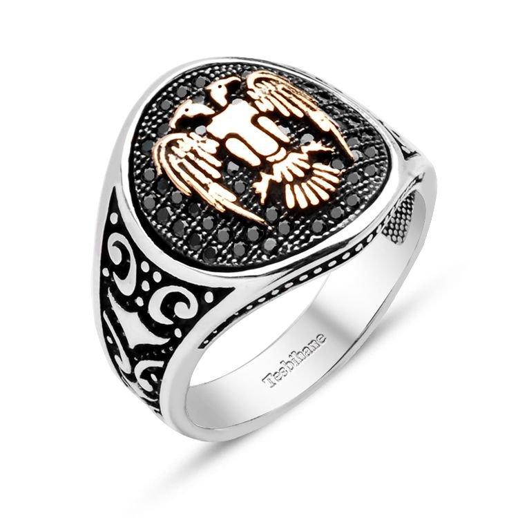 Mikron Taşlı Özel İşçilikli 925 Ayar Gümüş Selçuklu Kartalı Yüzük