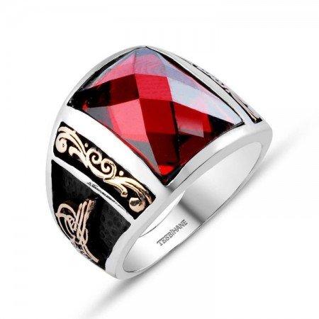 Tuğra İşlemeli Kırmızı Zirkon Taşlı 925 Ayar Gümüş Milli İrade Yüzüğü - Thumbnail