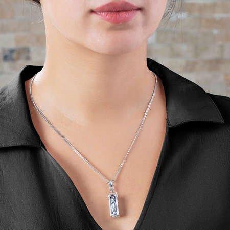 Minare Tasarım 925 Ayar Gümüş Cevşen Kolye - Thumbnail