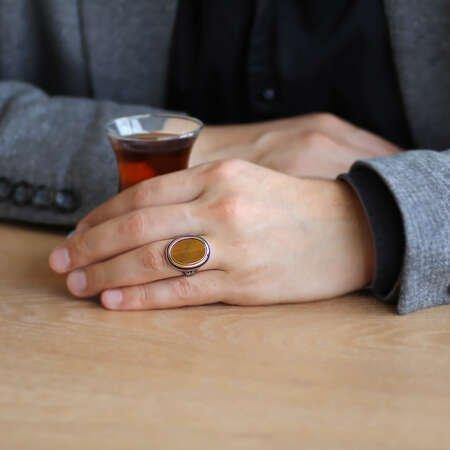 Minimal Tasarım Kaplan Gözü Taşlı 925 Ayar Gümüş Erkek Yüzük - Thumbnail