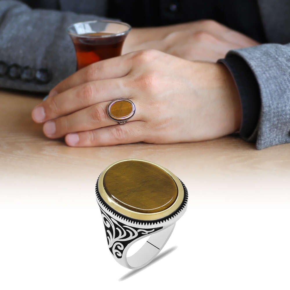 Minimal Tasarım Kaplan Gözü Taşlı 925 Ayar Gümüş Erkek Yüzük