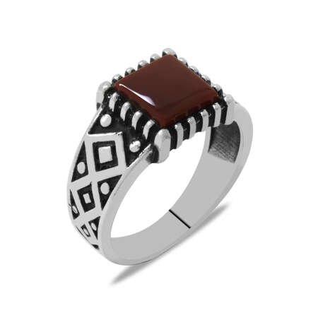 Minimal Tasarım Kırmızı Akik Taşlı 925 Ayar Gümüş Erkek Yüzük - Thumbnail
