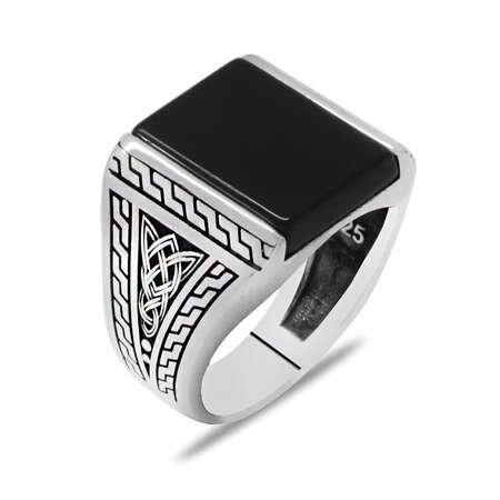 Minimal Tasarım Siyah Zirkon Taşlı 925 Ayar Gümüş Erkek Yüzük - Thumbnail