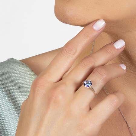 Mistik Topaz Taşlı Oval Tasarım 925 Ayar Gümüş Kadın Yüzük - Thumbnail