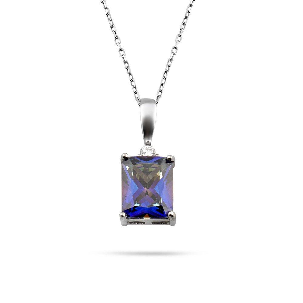 Mistik Topaz Taşlı Zarif Tasarım 925 Ayar Gümüş Kadın Kolye