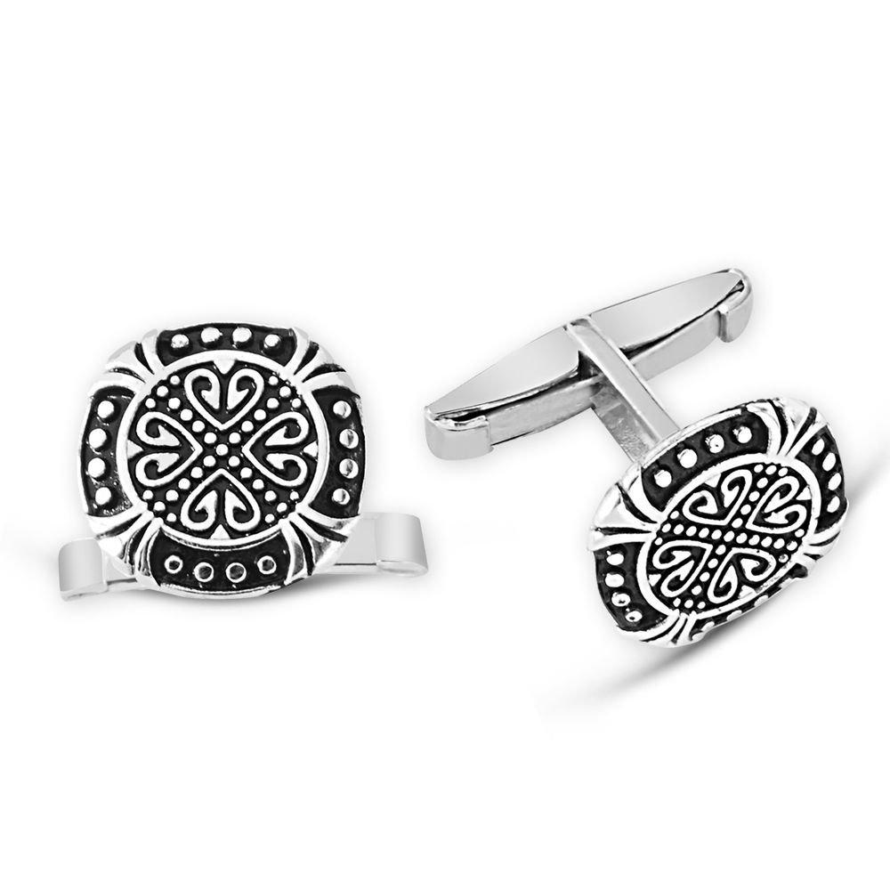 Motifli 925 Ayar Gümüş Kol Düğmesi