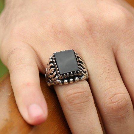 Mükemmel İşçilikli Oniks Taşlı Gümüş Yüzük - Thumbnail