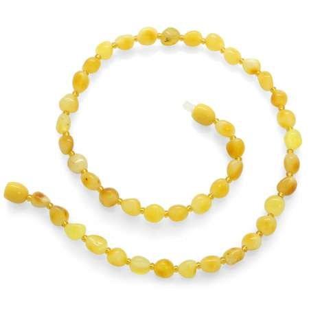 Hareli Sarı Doğal Damla Kehribar Taşlı Bebek Diş Kolyesi - Thumbnail