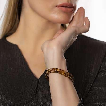Multicolor Doğal Damla Kehribar Rolex Unisex Bileklik - Thumbnail
