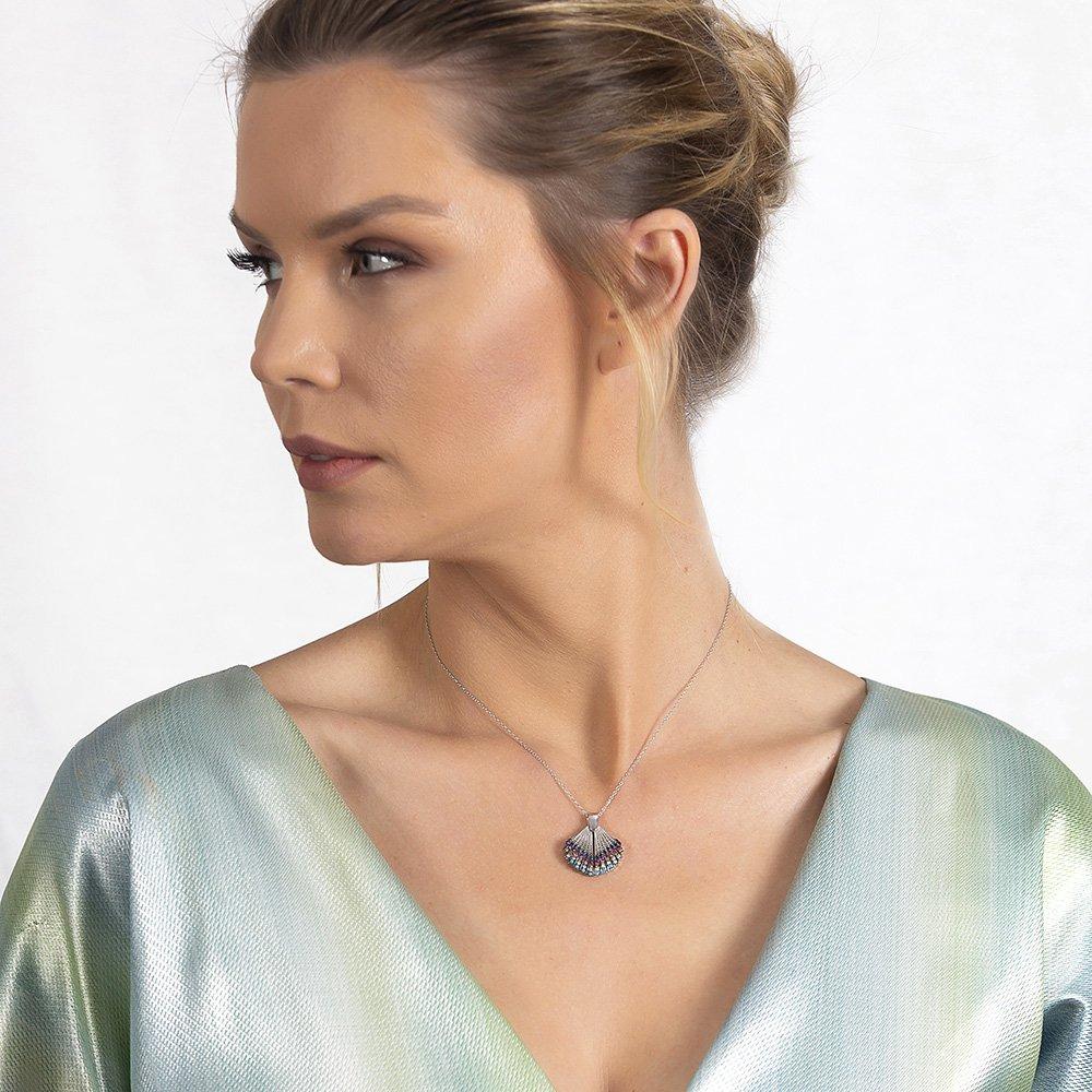 Multicolor Zirkon Taşlı İstiridye Tasarım Kişiye Özel İsim Yazılı 925 Ayar Gümüş Kadın Kolye