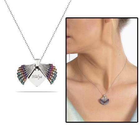 Multicolor Zirkon Taşlı İstiridye Tasarım Kişiye Özel İsim Yazılı 925 Ayar Gümüş Kadın Kolye - Thumbnail