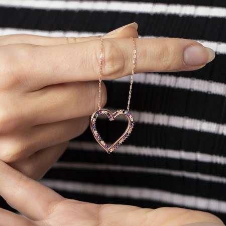 Multicolor Zirkon Taşlı Zarif Tasarım Rose Renk 925 Ayar Gümüş Kalp Kolye - Thumbnail