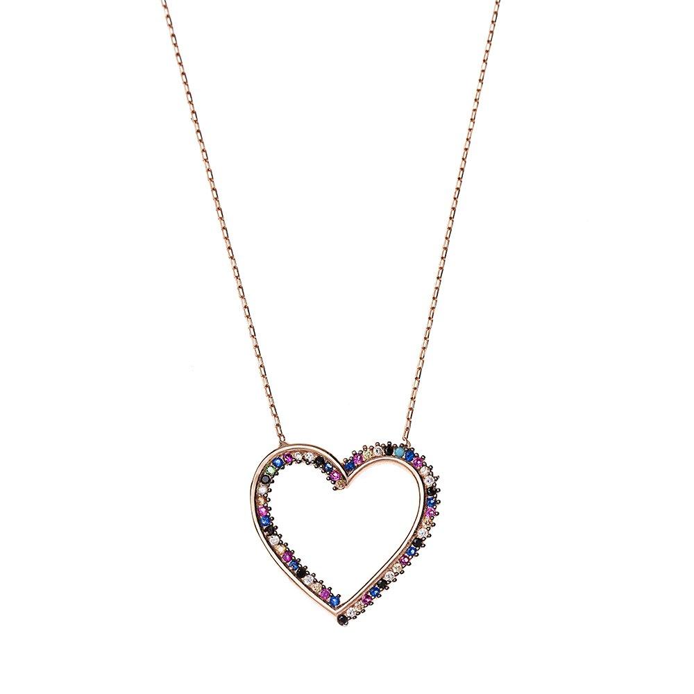 Multicolor Zirkon Taşlı Zarif Tasarım Rose Renk 925 Ayar Gümüş Kalp Kolye