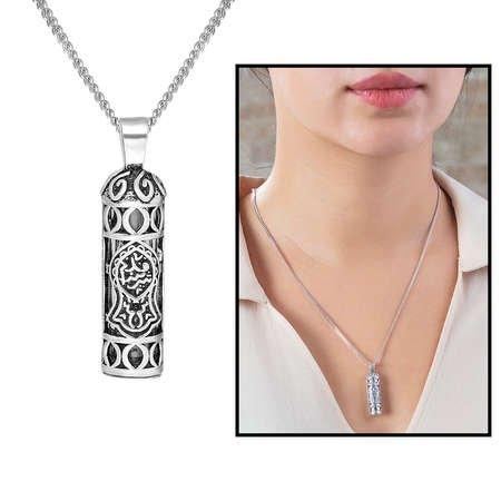 Nalı Şerif İşlemeli 925 Ayar Gümüş Cevşen Kolye - Thumbnail