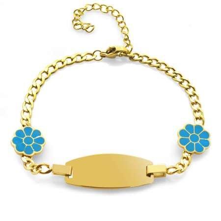 Turkuaz Papatya Detaylı Gold Renk Kişiye Özel İsim Yazılı Çelik Kadın Bileklik - Thumbnail