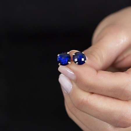 Night Blue Zirkon Taşlı 925 Ayar Gümüş Kadın Küpe - Thumbnail
