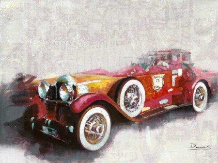Nostalji Araba Tasarım Kanvas Tablo - Thumbnail